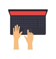 hands typing on laptop with red screen vector image