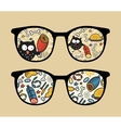 Retro sunglasses with owl and meat reflection vector image