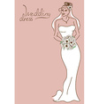 Wedding card with bride vector image