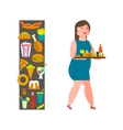 Overweight girl with junk-food vector image