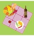 Outdoor dining in meadow on the grass flat vector image