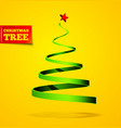 christmas tree in the form of a ribbon with a vector image