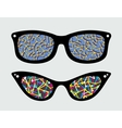 Retro eyeglasses with abstract reflection vector image