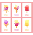 Set of six cards with watercolor ice cream vector image