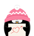 Penguin With Heart Paper vector image