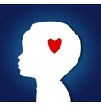 Child head with heart vector image vector image