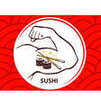 strong man hand with icon of sushi on re vector image