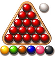 Snooker balls in triangle frame vector image