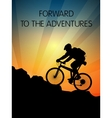 Bicyclist and sunset in the mountains vector image