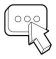 arrow cursor with message button icon vector image