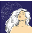 blond woman at night with moon stock vector image