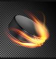 burning hockey puck burning style vector image