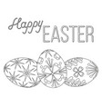 happy easter black and white poster three egg set vector image