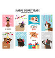 happy new year puppy cards vector image