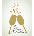 Romantic background with champagne glasses vector image