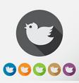 round bird icons set vector image
