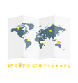 world map paper guide with pins set vector image