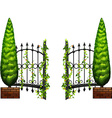 Metal fence with pine tree on sides vector image