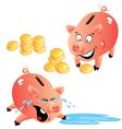 Set of emotions cartoons piggy bank and money vector image