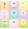 Flowers icon set nature background vector image vector image