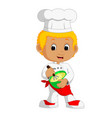 funny cartoon chef boy making cake vector image