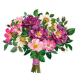 bouquet of wild rose and of violet roses vector image vector image