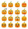 halloween pumpkin character emoji vector image