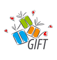 logo colorful gifts and hearts vector image