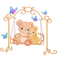 Pair of bears on a swing vector image