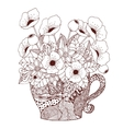 Zen Tangle cup and poppies vector image