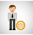 happy man icon globe social network design vector image