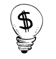 Lightbulb with dollar symbol inside vector image vector image