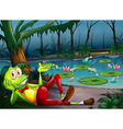 A frog in the forest resting near the pond vector image vector image