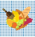 Picnic food barbecue basket on a blue seamless vector image