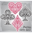 Black and red playing card suits ornamental vector image