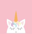 cute unicorn head face rainbow hair white daisy vector image