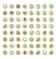 icons line hexagonal food drinks thin vector image