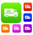 mail truck set color collection vector image