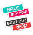 Sale - Buy Now - Best Buy and New Labels - vector image