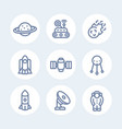 space line icons set over white vector image