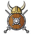 viking helmet shield and crossed swords vector image