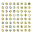 icons line hexagonal ui miscellaneous vector image