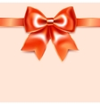 Red bow of silk ribbon isolated on pink background vector image