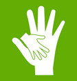 baby and mother hand icon green vector image