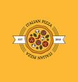 italian pizza logo or emblem on orange background vector image