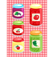 jams and pickled vegetables vector image