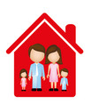red family together icon vector image