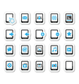 Tablet icons set - media settings web vector image