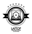 Black retro vintage label  tag  badge  laptop vector image vector image