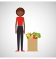 cartoon girl afroamerican grocery bag vegetables vector image